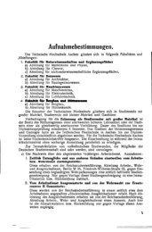 Aufnahmebestimmungen. - Hochschularchiv der RWTH Aachen