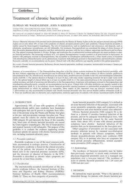 moxifloxacin chronic prostatitis