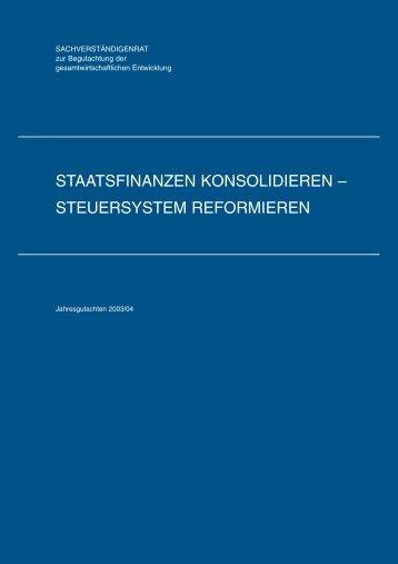 staatsfinanzen konsolidieren – steuersystem reformieren