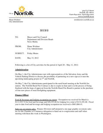 M E M O   TO: Mayor and City Council Department ... - City of Norfolk