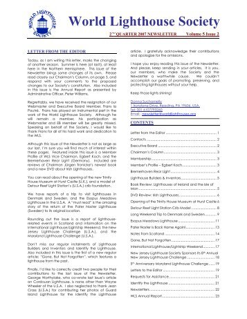World Lighthouse Society Newsletter, Part 1