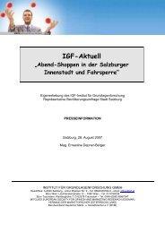 Abend-Shoppen in der Salzburger Innenstadt und Fahrsperre - IGF
