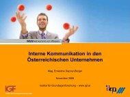 Interne Kommunikation in den Österreichischen Unternehmen - IGF
