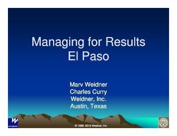 Managing for Results El Paso - City of El Paso