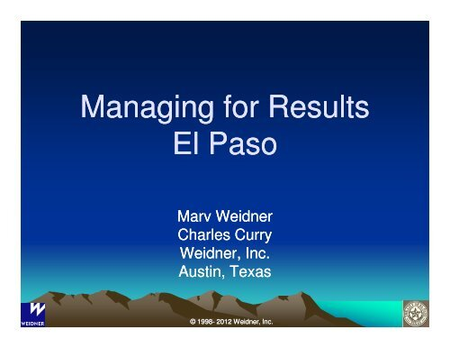 Managing for Results El Paso - City of El Paso