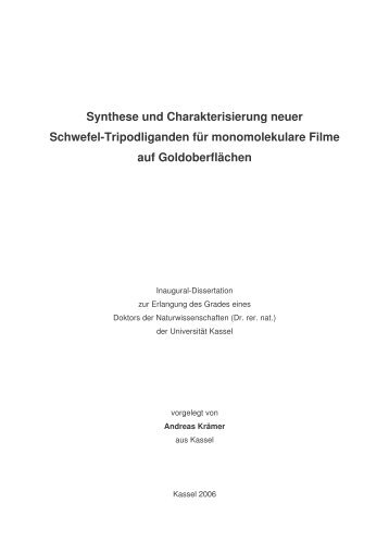 Synthese und Charakterisierung neuer Schwefel-Tripodliganden für ...