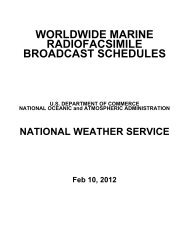 Worldwide Marine Radiofacsimile Broadcast Schedules - NOAA