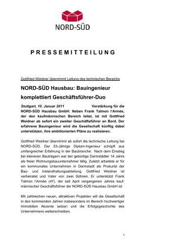 P R E S S E M I T T E I L U N G - Nord-Süd Hausbau GmbH