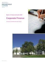 Corporate Finance - Weiterbildung - Hochschule Luzern