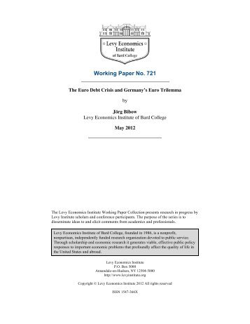 The Euro Debt Crisis and Germany's Euro Trilemma - Levy ...