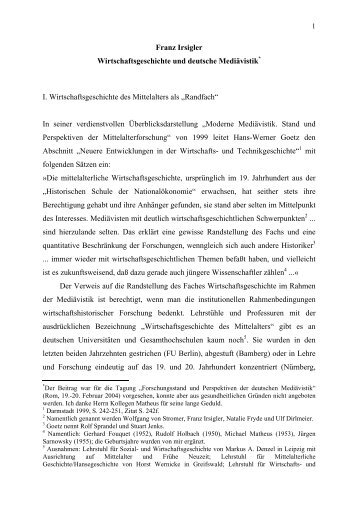 Wirtschaftsgeschichte und deutsche Mediävistik - Homepage des ...