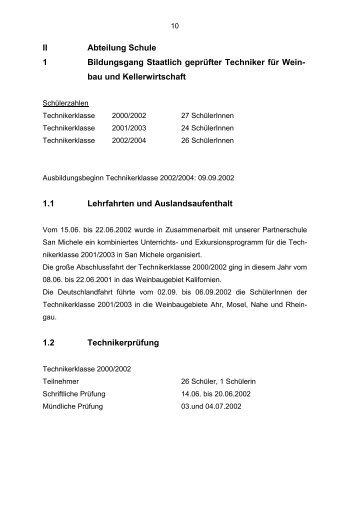 II Abteilung Schule 1 Bildungsgang Staatlich geprüfter Techniker für ...