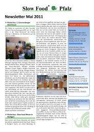 Slow Food® Pfalz Newsletter Mai 2011 - Slow Food Deutschland eV