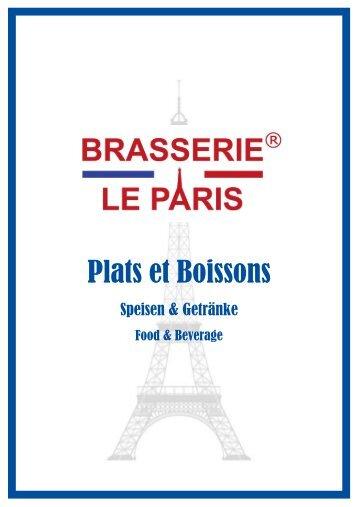 Plats et Boissons - Brasserie Le Paris