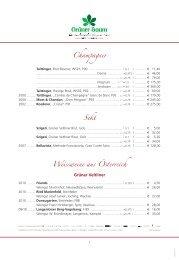 Champagner Sekt Weissweine aus Österreich - Hoteldorf Grüner ...