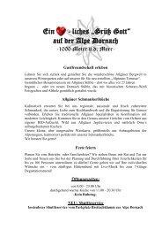 Die Alpe Dornach Speisekarte für Winter 2013