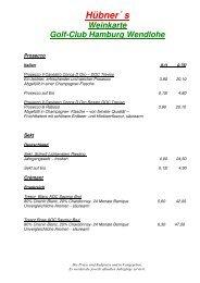 Weinkarte Wendlohe 2012-1 - Golf Club auf der Wendlohe