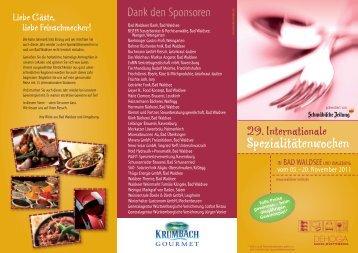 Flyer der 29. Spezialitätenwochen zum Ausdruck - derWALDSEEer