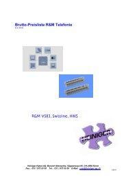 Brutto-Preisliste R&M Telefonie - Heiniger Kabel AG