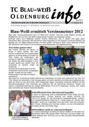 Blau-Weiß ermittelt Vereinsmeister 2012 - TC Blau-Weiß Oldenburg