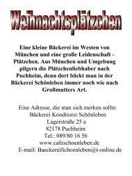Eine kleine Bäckerei im Westen von München und eine große ...