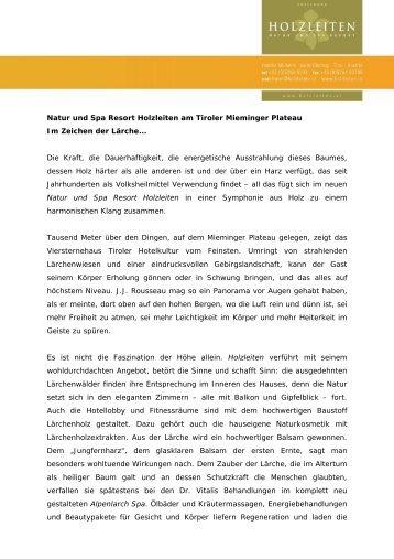 Natur und Spa Resort Holzleiten am Tiroler ... - Hotel Holzleiten