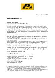 PRESSEINFORMATION Alpine Golf Cup
