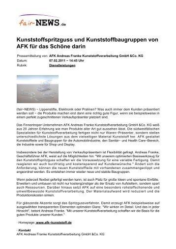 Kunststoffspritzguss und Kunststoffbaugruppen von ... - fair-NEWS.de