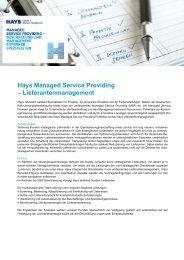 Hays Managed Service Providing – Lieferantenmanagement