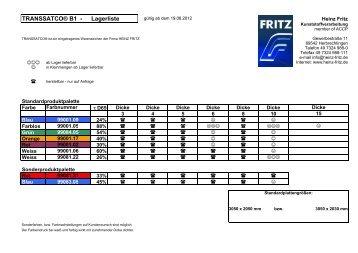 TRANSSATCO® B1 - Lagerliste - HEINZ FRITZ Kunststoffverarbeitung