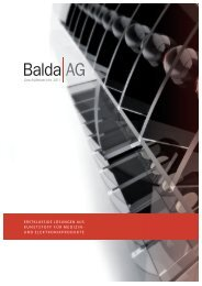Geschäftsbericht 2011 ERSTKLASSIGE LÖSUNGEN ... - Balda AG
