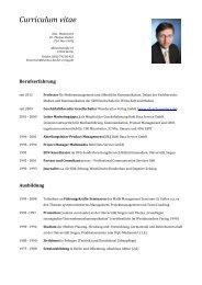Lebenslauf Prof. Dr. Thomas Becker - SRH Hochschule Calw