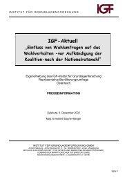 """IGF-Aktuell """"Einfluss von Wahlumfragen auf das Wahlverhalten -vor"""