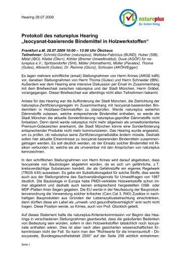 "Protokoll des natureplus Hearing ""Isocyanat-basierende Bindemittel ..."