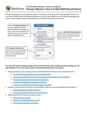 Manage Collections: How to Enable MARC Record Delivery - OCLC