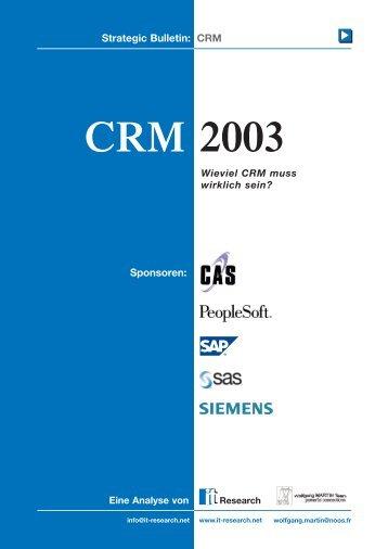 Strategic Bulletin CRM 2003 - Marketing.ch