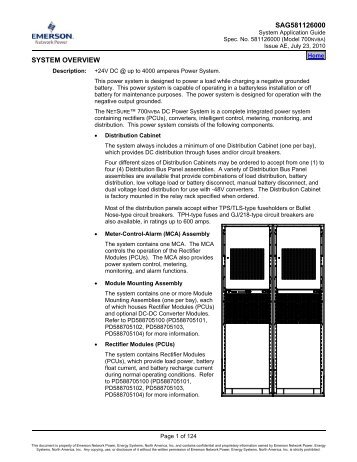 SAG581126000 SYSTEM OVERVIEW - Emerson Network Power