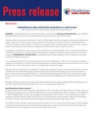 Press inquiries - Henderson Global Investors