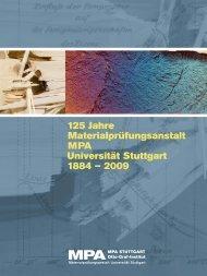 125 Jahre Materialprüfungsanstalt MPA Universität Stuttgart 1884 ...