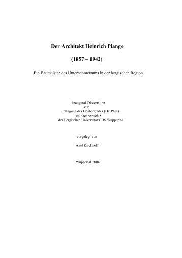 Der Architekt Heinrich Plange - Bergische Universität Wuppertal