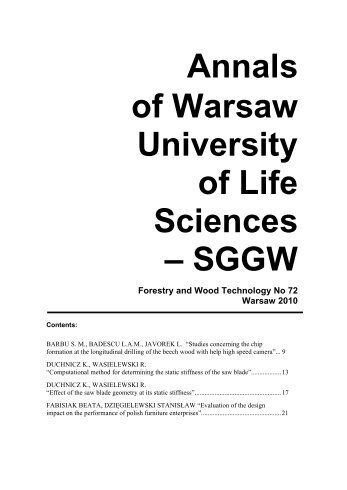 Annals of Warsaw University of Life Sciences - SGGW