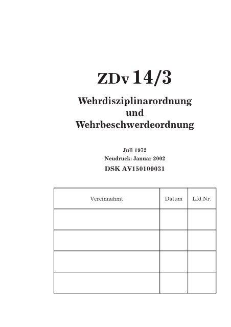Zdv14 3 Wehrdisziplinarordnung Und Wehrbeschwerdeordnung