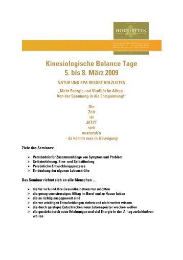 Kinesiologische Balance Tage 5. bis 8. März 2009