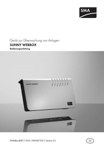 Sunny WebBox - Bedienungsanleitung - SMA Solar Technology AG