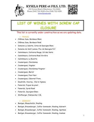 list of wines with screw cap closure - Kysela Pere et Fils, LTD