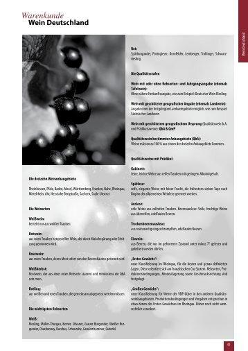 Warenkunde Wein Deutschland