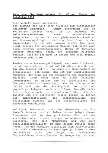 Rede von Oberbürgermeister Dr. Jürgen Zieger zum ... - Esslingen