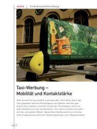 Taxi-Werbung – Mobilität und Kontaktstärke - marke41
