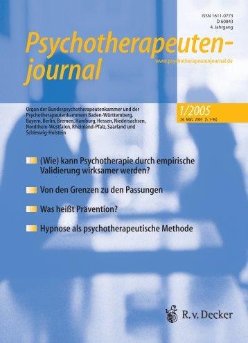 Psychotherapeutenjournal 1/2005 (.pdf)