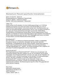 Werbedruck Petzold spezifische Innovationen: - Firmendb
